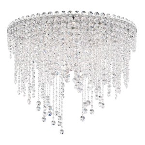 Chantant Stainless Steel Six-Light Round Short Flush Mount with Clear Heritage Crystal