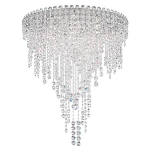 Chantant Stainless Steel Six-Light Round Medium Flush Mount with Clear Heritage Crystal