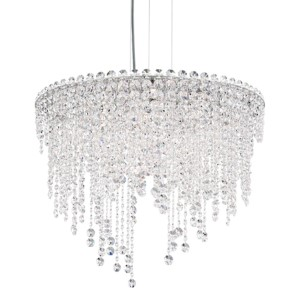Chantant Stainless Steel Six-Light Round Short Pendant with Clear Heritage Crystal