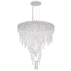 Chantant Stainless Steel Six-Light Round Medium Pendant with Clear Heritage Crystal