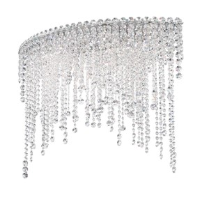 Chantant Stainless Steel Six-Light Eye Medium Flush Mount with Clear Heritage Crystal