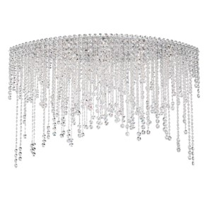 Chantant Stainless Steel Eight-Light Eye Medium Flush Mount with Clear Heritage Crystal