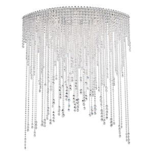 Chantant Stainless Steel Eight-Light Eye Long Flush Mount with Clear Heritage Crystal