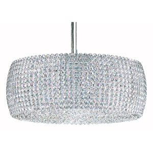 Dionyx Stainless Steel Three-Light Crystal Swarovski Strass Pendant Light, 18W x 7H x 18D