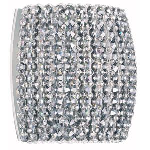 Dionyx Stainless Steel One-Light Black Diamond Swarovski Strass Wall Sconce, 8W x 7H x 8D