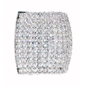 Dionyx Stainless Steel One-Light Crystal Swarovski Strass Wall Sconce, 8W x 7H x 8D
