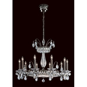 Fontana Luce Black Pearl 13-Light Chandelier with Clear Heritage Crystal