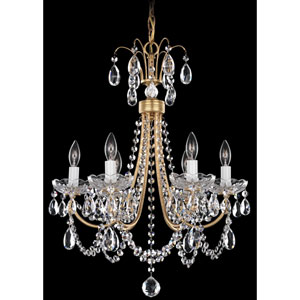 Lucia French Gold Six-Light Clear Heritage Handcut Crystal Chandelier, 17.5W x 22.5H x 17.5D