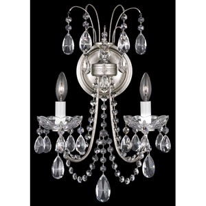 Lucia Antique Silver Two-Light Clear Heritage Handcut Crystal Wall Sconce, 11W x 18H x 11D