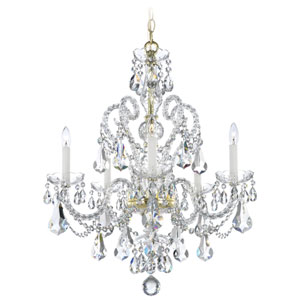 Novielle Polished Gold Five-Light Crystal Swarovski Elements Chandelier, 22W x 27H x 22D