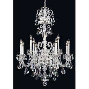 Novielle Polished Silver 12-Light Crystal Swarovski Strass Chandelier, 32W x 44H x 32D