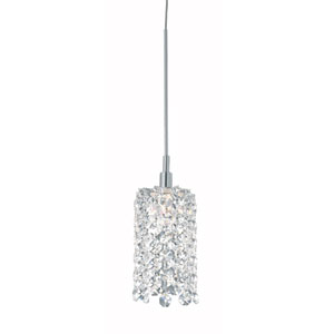 Refrax Stainless Steel One-Light Clear Spectra Crystal Pendant Light, 2W x 5H x 2D