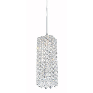 Refrax Stainless Steel One-Light Clear Spectra Crystal Pendant Light, 4W x 9H x 4D