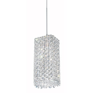 Refrax Stainless Steel One-Light Clear Spectra Crystal Pendant Light, 5W x 9H x 5D