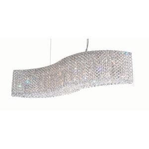 Refrax Stainless Steel Eight-Light Pendant w/Swarovski Clear Spectra Crystal, 32W x 8H x 32D