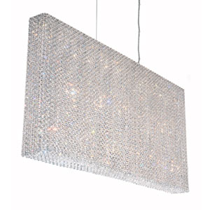 Refrax Stainless Steel 23-Light Clear Spectra Crystal Pendant Light, 48.5W x 24.5H x 48.5D