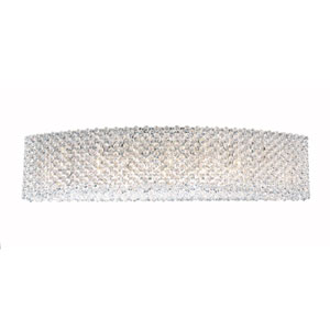 Refrax Stainless Steel Nine-Light Crystal Swarovski Strass Wall Sconce, 28W x 6.5H x 28D