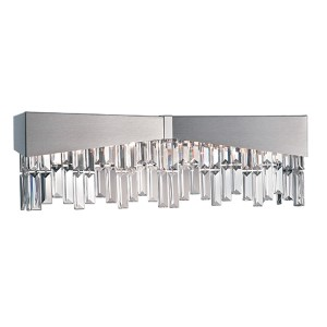 Riviera Brushed Stainless Steel Four-Light Wall Sconce with Clear Spectra Crystal