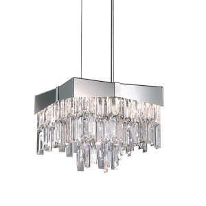 Riviera Stainless Steel Four-Light Small Bar Pendant with Clear Swarovski Strass Crystal