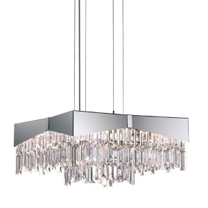 Riviera Brushed Stainless Steel Eight-Light Medium Square Pendant with Clear Swarovski Strass Crystal
