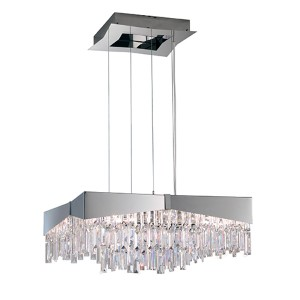 Riviera Stainless Steel Eight-Light Large Square Pendant with Clear Swarovski Strass Crystal
