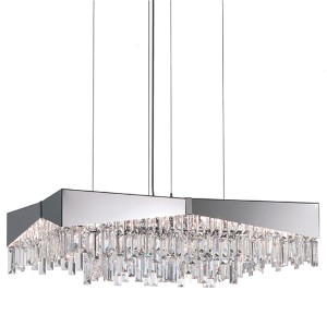 Riviera Brushed Stainless Steel Eight-Light Medium Rectangular Pendant with Clear Spectra Crystal