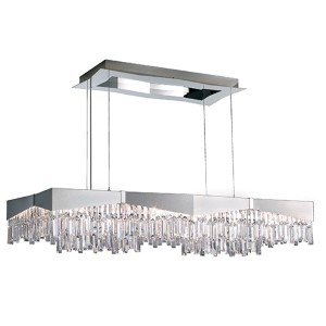 Riviera Brushed Stainless Steel 16-Light Large Rectangular Pendant with Clear Spectra Crystal