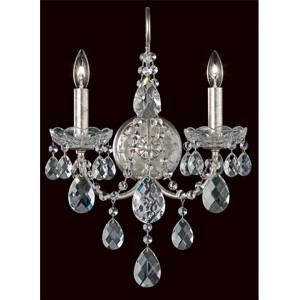 Sonatina Antique Silver Two-Light Wall Sconce with Clear Heritage Crystal