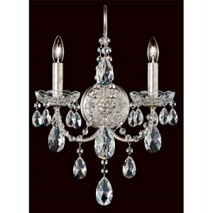 Sonatina Antique Silver Two-Light Wall Sconce with Clear Swarovski Strass Crystal
