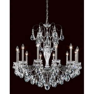 Sonatina Black Pearl 12-Light Chandelier with Clear Heritage Crystal