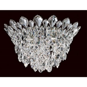 Trilliane Strands Stainless Steel Four-Light Round Short Flush Mount with Clear Heritage Crystal