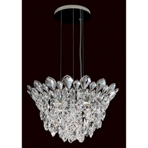Trilliane Strands Stainless Steel Four-Light Round Short Pendant with Clear Heritage Crystal