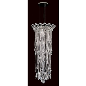 Trilliane Strands Stainless Steel Four-Light Round Medium Pendant with Clear Heritage Crystal