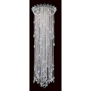 Trilliane Strands Stainless Steel Six-Light Round Long Flush Mount with Clear Heritage Crystal