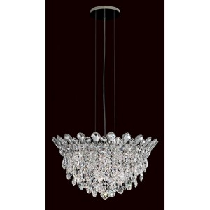 Trilliane Strands Stainless Steel Six-Light Round Short Pendant with Clear Heritage Crystal