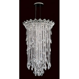 Trilliane Strands Stainless Steel Six-Light Round Medium Pendant with Clear Heritage Crystal