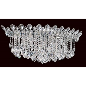 Trilliane Strands Stainless Steel Six-Light Eye Short Flush Mount with Clear Heritage Crystal