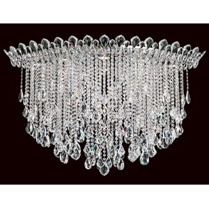 Trilliane Strands Stainless Steel Eight-Light Eye Medium Flush Mount with Clear Heritage Crystal