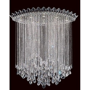 Trilliane Strands Stainless Steel Eight-Light Eye Long Flush Mount with Clear Heritage Crystal