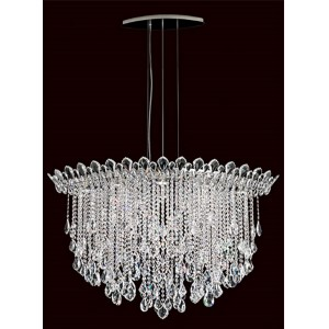 Trilliane Strands Stainless Steel Eight-Light Eye Medium Pendant with Clear Heritage Crystal