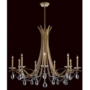 Vesca Heirloom Gold Nine-Light Chandelier with Clear Spectra Crystal