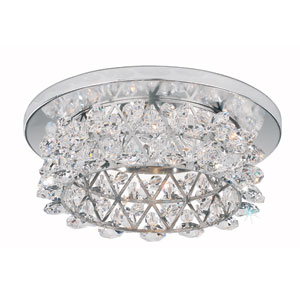 Vertex Stainless Steel One-Light Clear Spectra Crystal Recessed Light, 4.5W x 1.5H x 4.5D