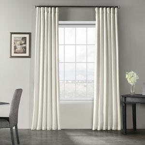 Off White Vintage Textured Faux Dupioni Silk Single Panel Curtain, 50 X 96