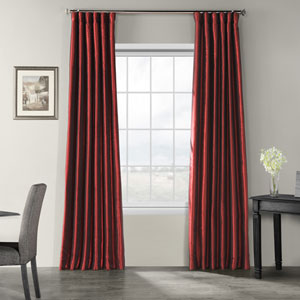 Ruby Vintage Textured Faux Dupioni Silk Single Panel Curtain, 50 X 108