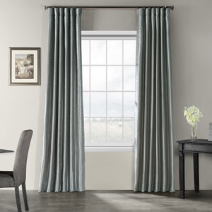 Storm Grey Vintage Textured Faux Dupioni Silk Single Panel Curtain, 50 X 108