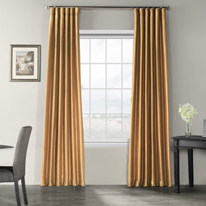 Flax Gold Vintage Textured Faux Dupioni Silk Single Panel Curtain, 50 X 120