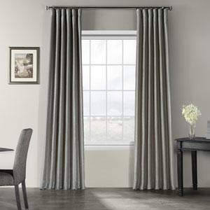 Silver Vintage Textured Faux Dupioni Silk Single Panel Curtain, 50 X 96