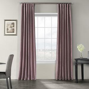 Smoky Plum Vintage Textured Faux Dupioni Silk Single Panel Curtain, 50 X 84