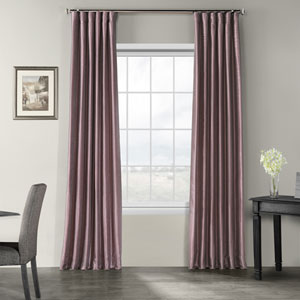 Smoky Plum Vintage Textured Faux Dupioni Silk Single Panel Curtain, 50 X 108