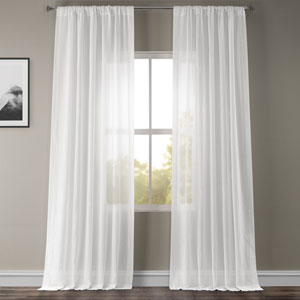 White Orchid Faux Linen Sheer Single Panel Curtain Panel, 50 X 108